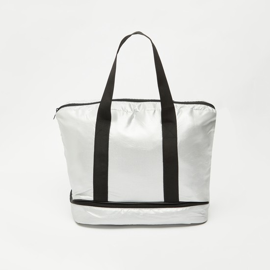 Solid Duffel Bag with Twin Handle and Zip Closure