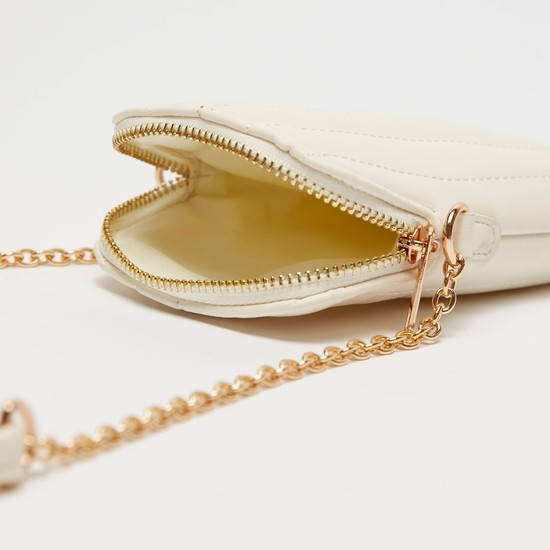 Solid Crossbody Bag with Stitch Detail and Zip Closure
