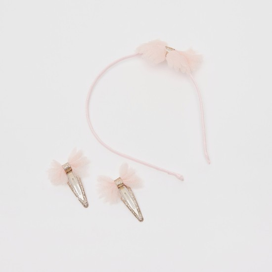 Bow Accented 3-Piece Hairband and Clip Set
