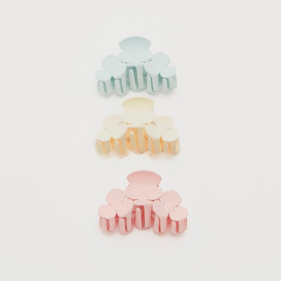Set of 3 - Solid Flower Detail Hair Clamp