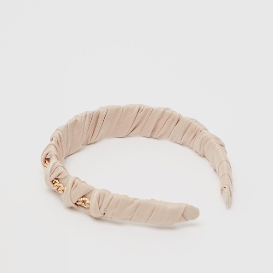 Textured Hairband with Chain Accent