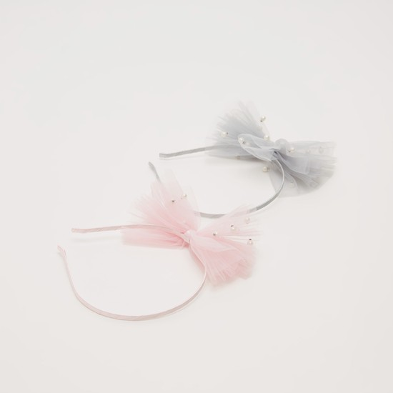 Set of 2 - Bow and Pearl Detail Hairband
