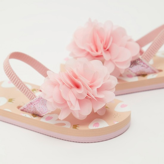 Glittery Slingback Beach Slippers with Floral Applique