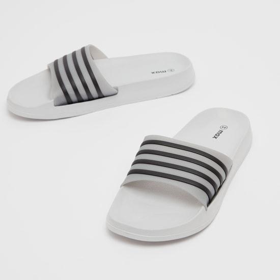Striped Strap Slip On Slides