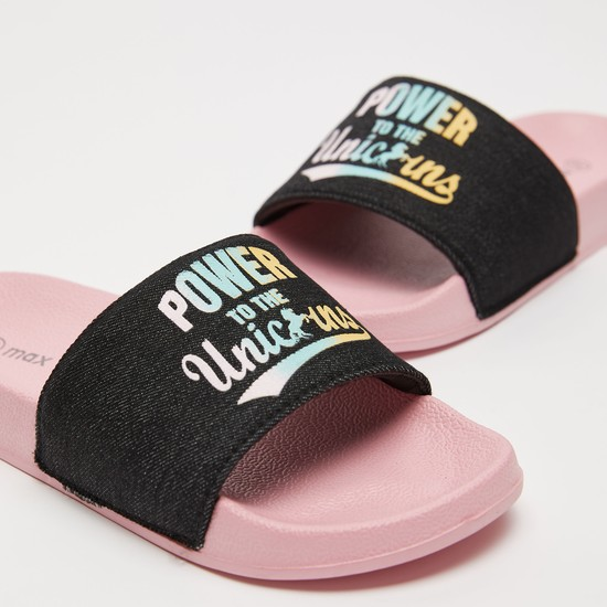 Sliders with Slogan Print Midsole Strap