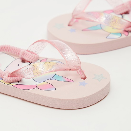 Unicorn Print Thong Style Slippers with Slingback Strap