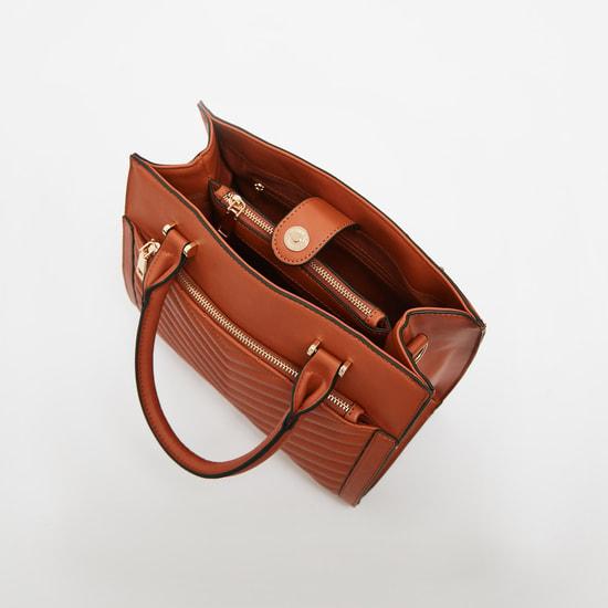 شنطة يد مبطنة بحزام قابل للفصل وسحاب إغلاق