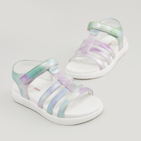 Textured Multi-Strap Sandals with Hook and Loop Closure