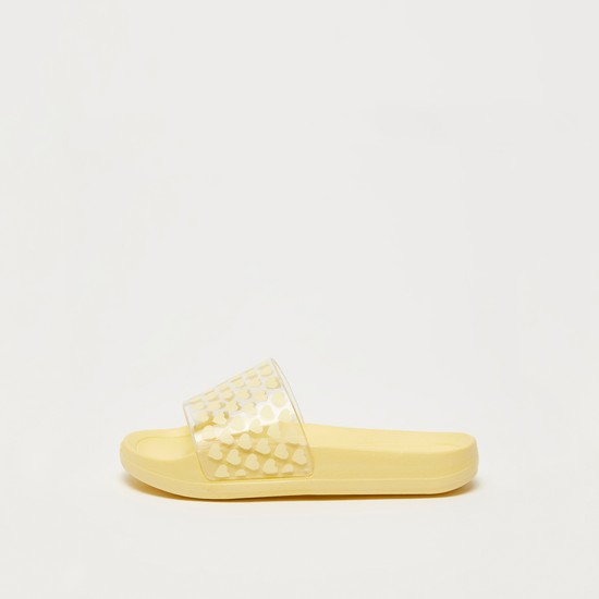 Heart Print Slip On Sliders