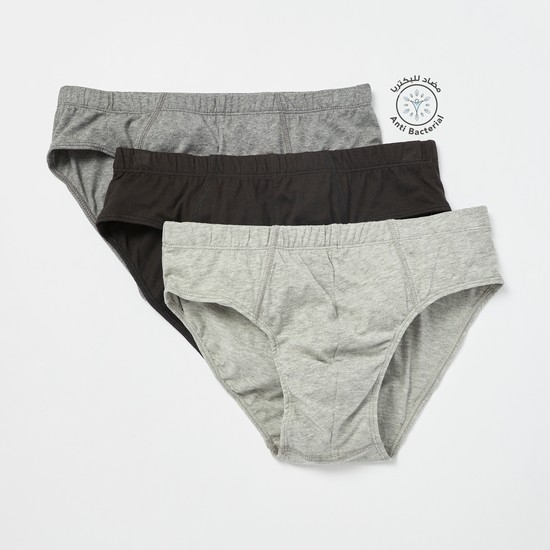 Pack of 3 - Solid Briefs with Elasticised Waistband