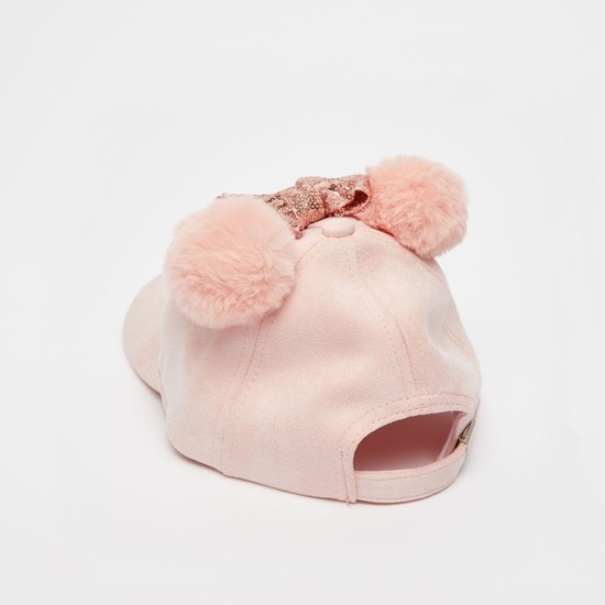 قبعة بتطريز ميني ماوس وفيونكة وتفاصيل ترتر