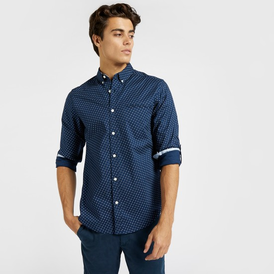 - Slim Fit Printed Oxford Shirt with Long Sleeves and Button Closure