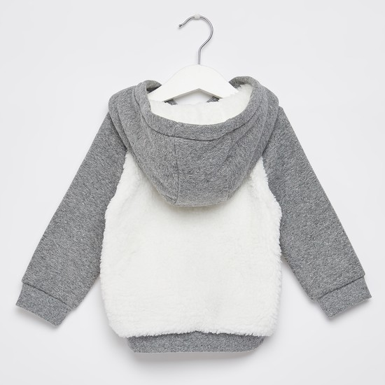 Textured Sweatshirt with Hood and Long Sleeves