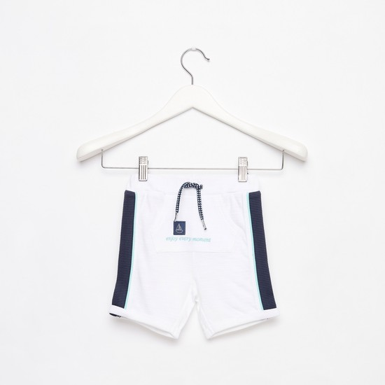 Textured Mid-Rise Shorts with Drawstring Closure