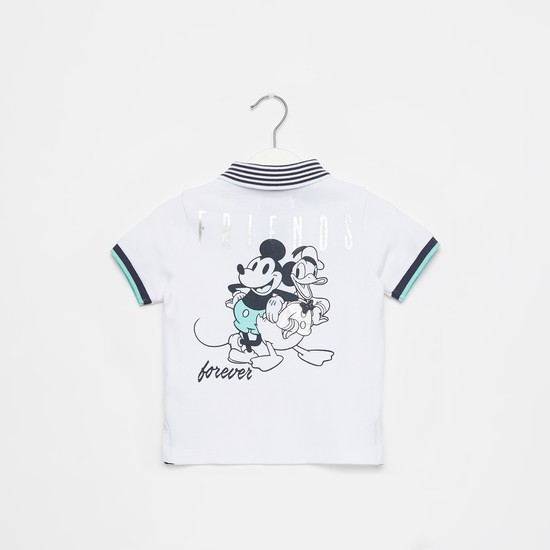 Mickey Mouse and Friends Graphic Print Polo T-shirt with Short Sleeves