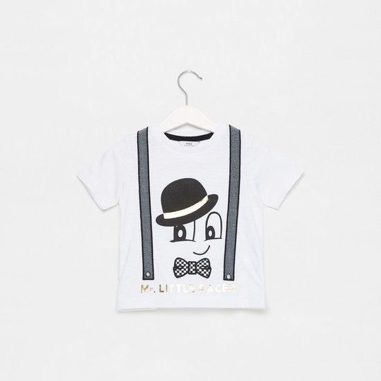 Mr. Racer Print Round Neck T-shirt with Short Sleeves
