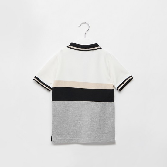 Printed Panel Polo Neck T-shirt with Short Sleeves