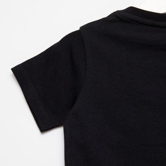 Batman Print Round Neck T-shirt with Short Sleeves