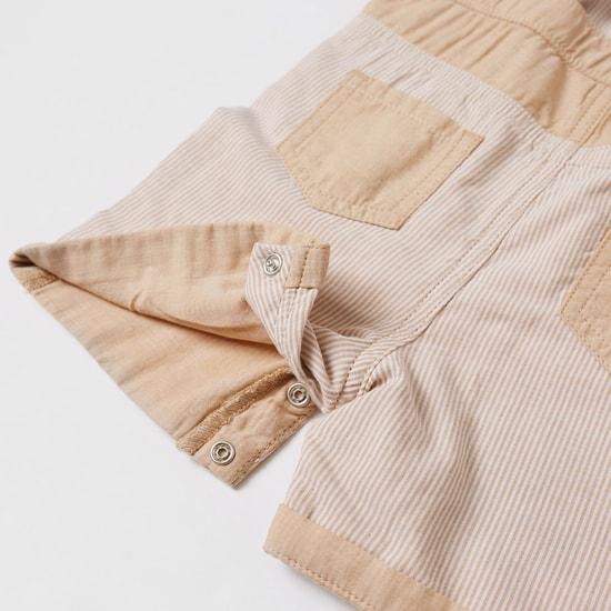 Textured Short Sleeves T-shirt and Dungaree Set