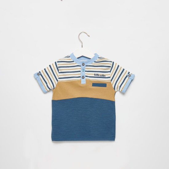 Striped Henley Neck T-shirt with Short Sleeves
