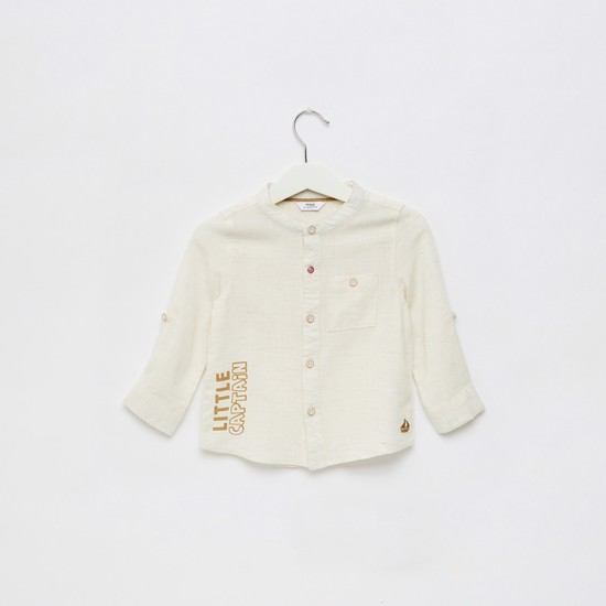 Slogan Print Shirt with Long Sleeves and Patch Pocket