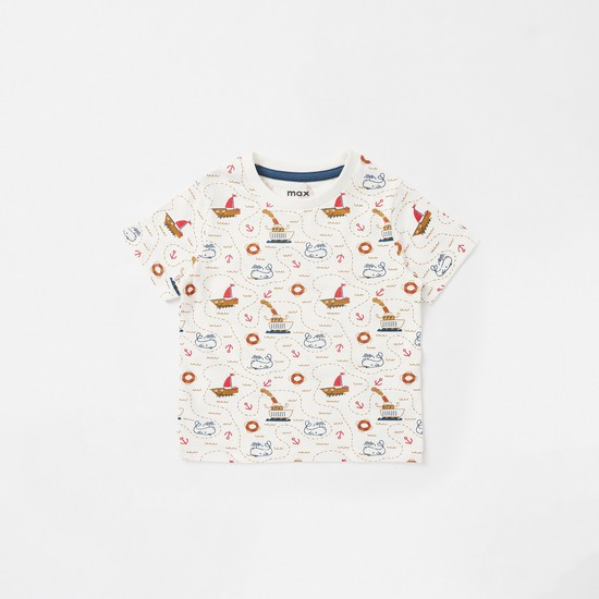 Set of 3 - Printed Round Neck T-shirt with Short Sleeves