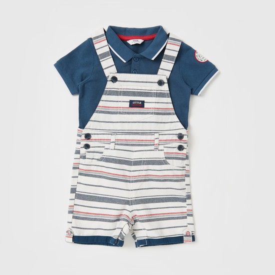 Textured Polo T-shirt with Striped Dungaree Set