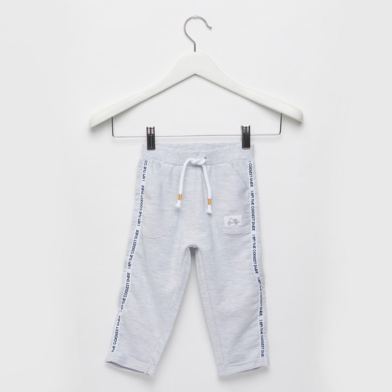 Solid Jog Pants with Side Tape Detail and Drawstring Closure