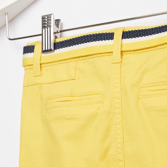 Textured Knee-Length Shorts with Belted Waist and Pockets