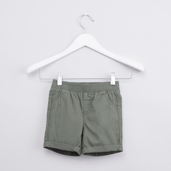 Solid Shorts with Elasticised Waistband