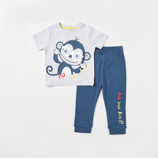 Monkey Print Short Sleeves T-shirt and Jog Pants Set