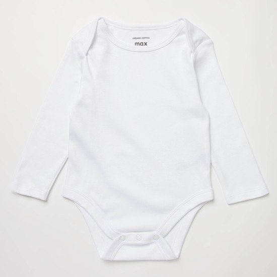 Set of 7 - Solid GOTS Organic Cotton Bodysuit with Long Sleeves