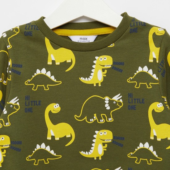 All-Over Dino Print Sweatshirt with Round Neck and Long Sleeves