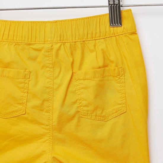 Solid Shorts with Pocket Detail and Drawstring Closure