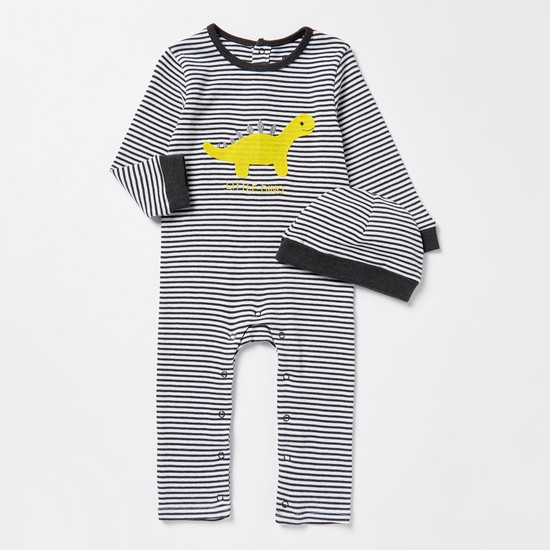 Dino Embroidered Striped Sleepsuit with Cap Set