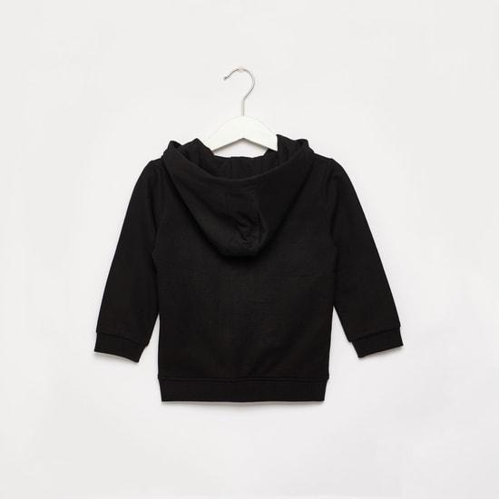 Solid Hoodie with Long Sleeves and Zip Closure