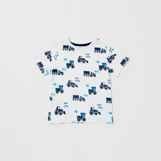 Set of 4 - Graphic Print Round Neck T-shirt and Pyjamas