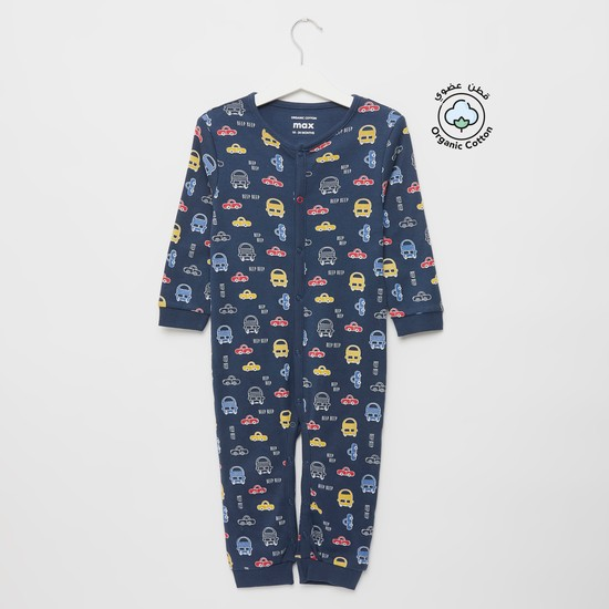 All-Over Cars Print Sleepsuit with Round Neck and Long Sleeves