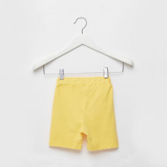 Text Print Shorts with Pocket Detail and Drawstring Closure