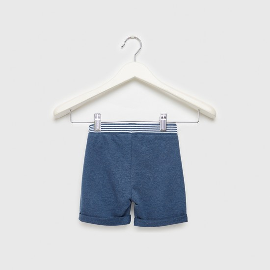 Text Embroidered Shorts with Striped Elasticised Waistband