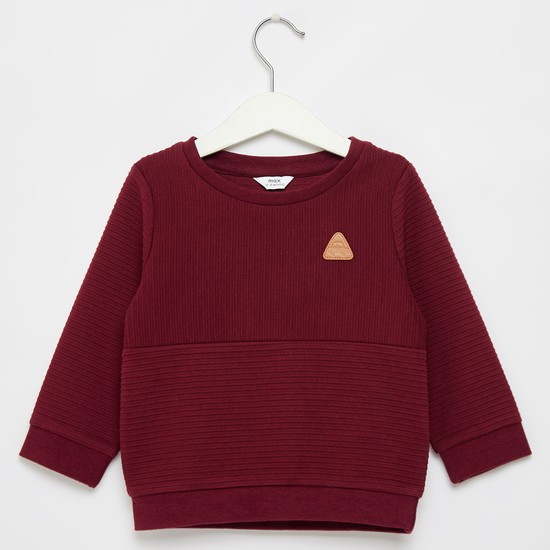 Textured Round Neck Sweatshirt with Long Sleeves