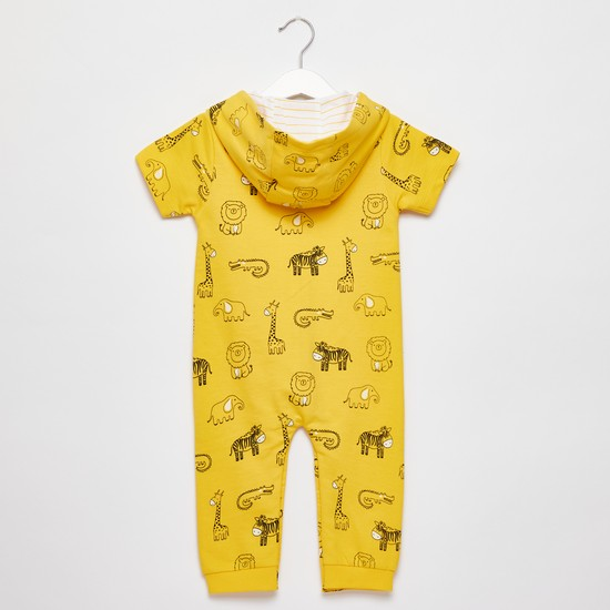 All-Over Animal Print Romper with Hood and Pocket Detail