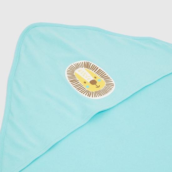 Animal Print Organic Blanket with Hood - 80x80 cms