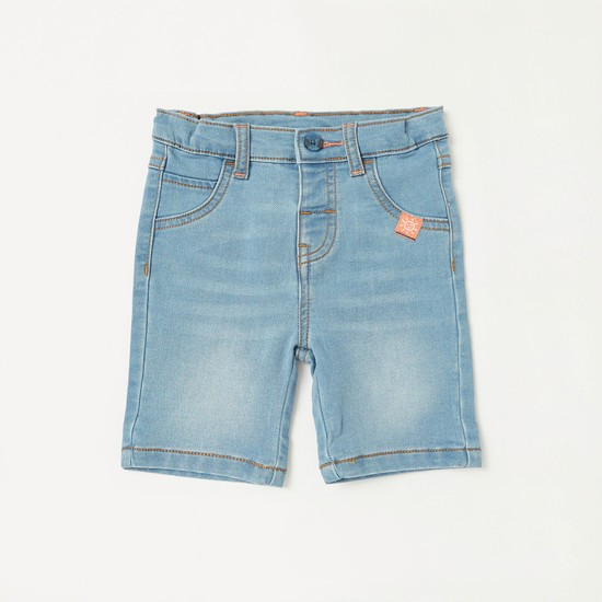 Striped Short Sleeves Shirt with Textured Denim Shorts Set