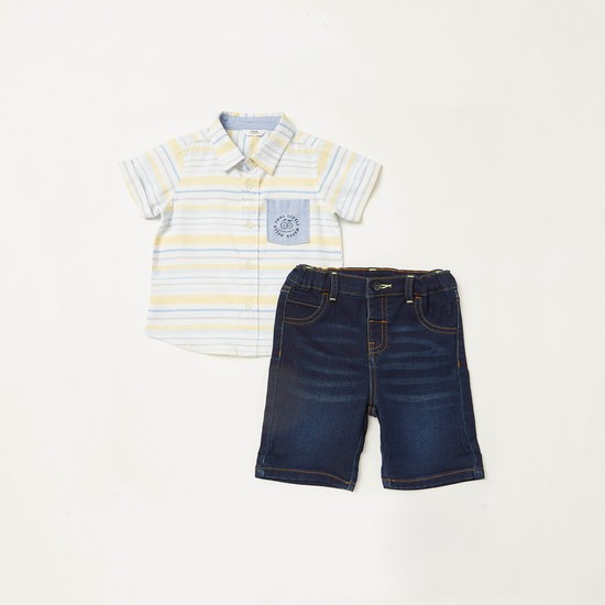 Striped Short Sleeves Shirt with Denim Shorts Set
