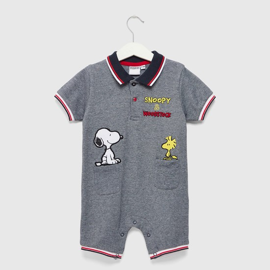 Snoopy Embroidered Romper with Collar and Short Sleeves