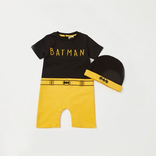 Batman Embroidered Detail Romper with Beanie Cap