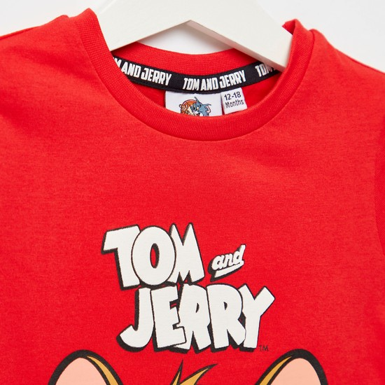 Tom and Jerry Graphic Print T-shirt with Round Neck and Short Sleeves