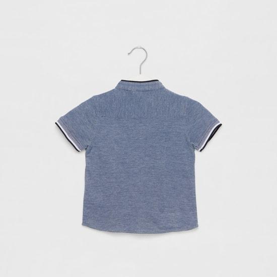 Textured Knit Shirt with Mandarin Collar and Short Sleeves