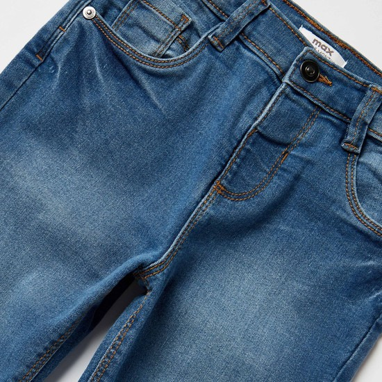 بنطلون جينز بجيوب وزر اغلاق
